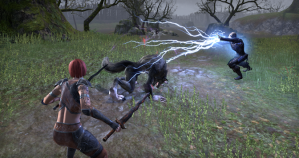 Amelia and Vallanil Fighting Werewolf